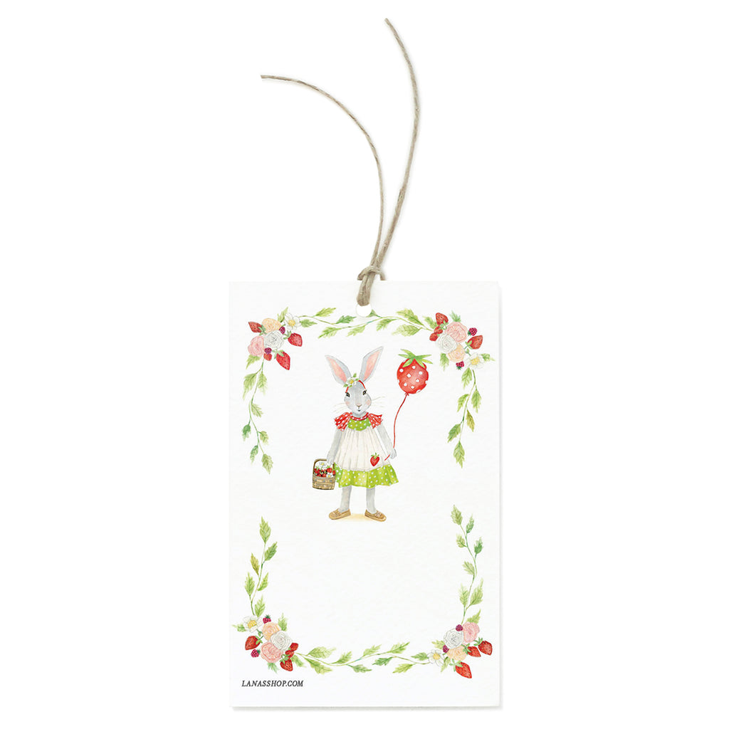 Strawberry Bunny Gift Tag Set