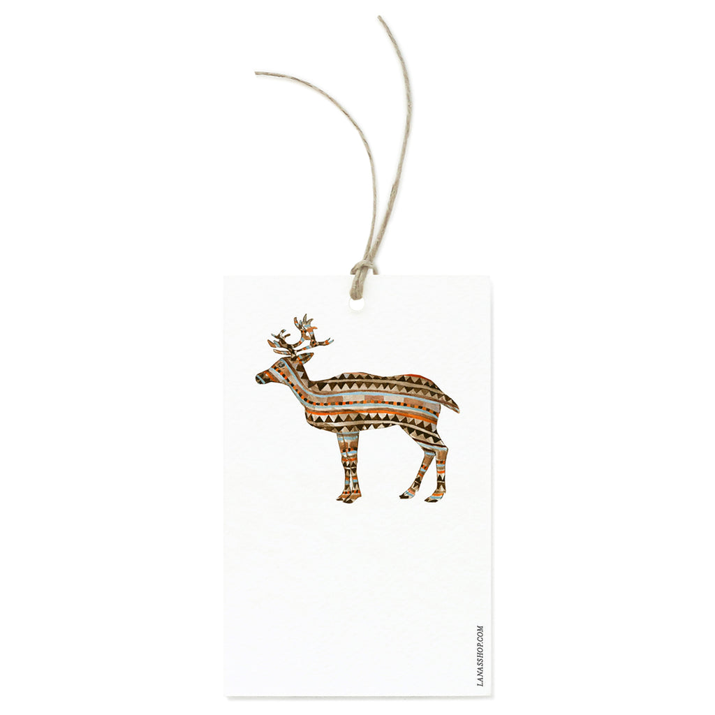 Patterned Reindeer Gift Tag Set