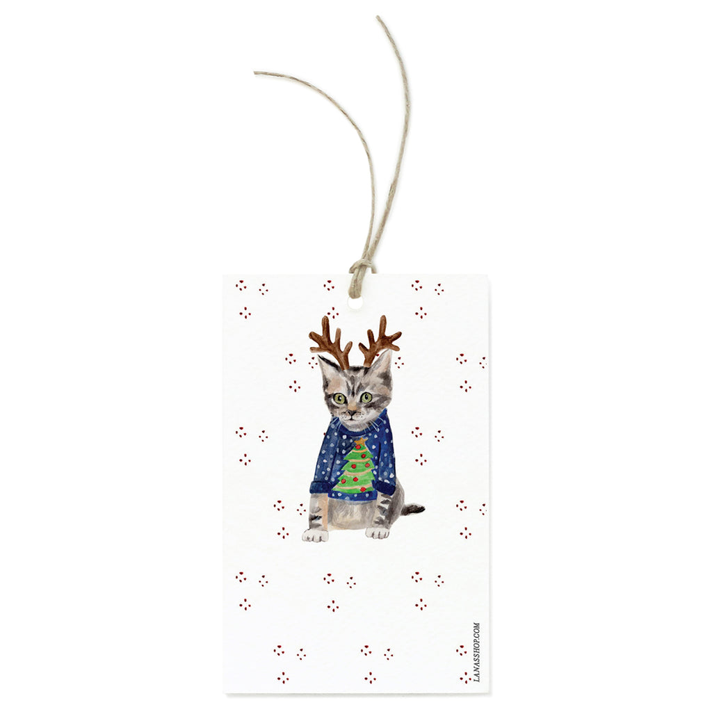 Reindeer Cat Gift Tag Set