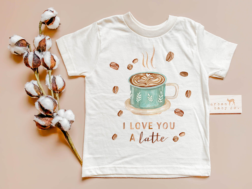 I love you a latte coffee organic baby onesie