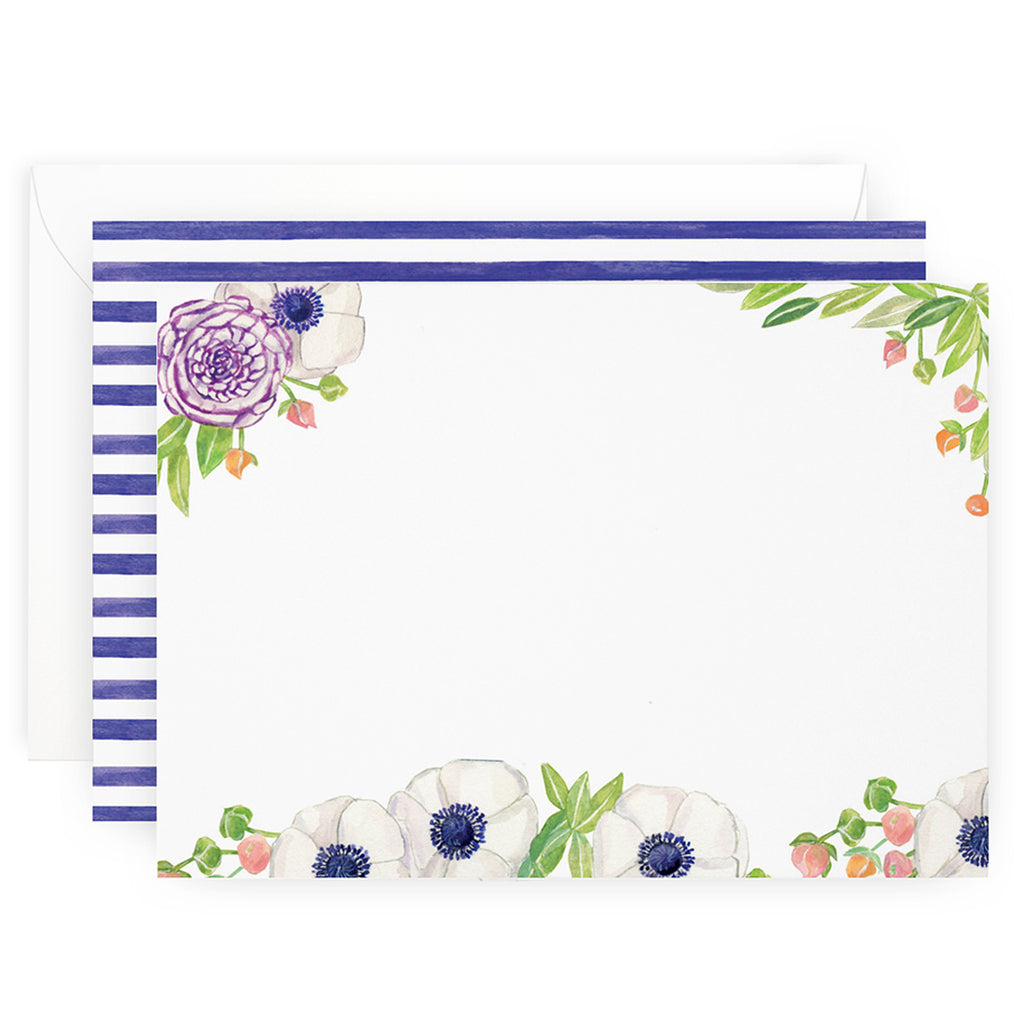 Floral Stripes Note Cards
