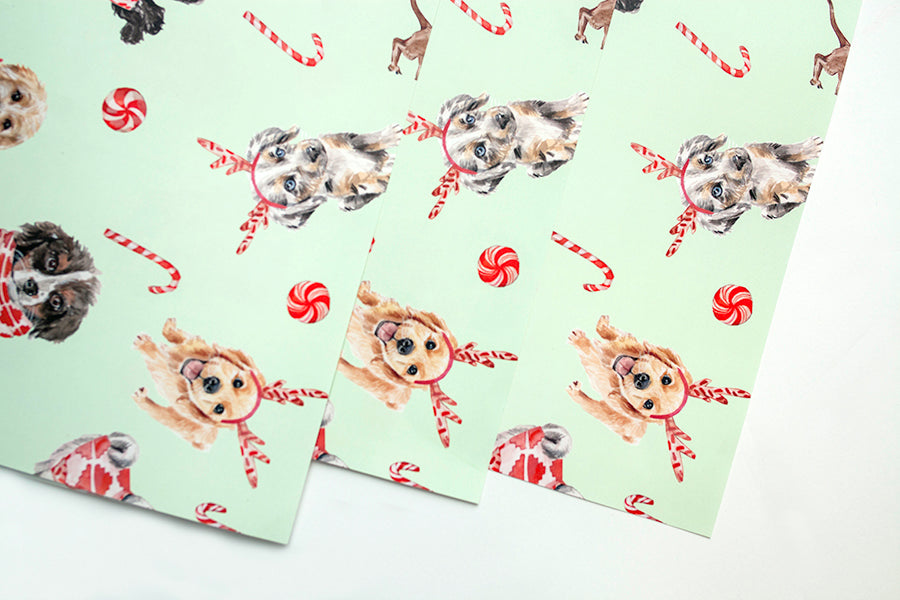Christmas Puppy Dog Gift Wrap