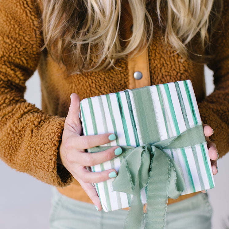 Green Stripes Gift Wrap