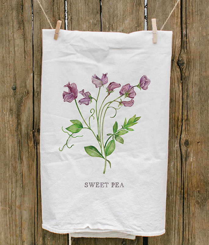Sweet Pea Painted Tea Towel