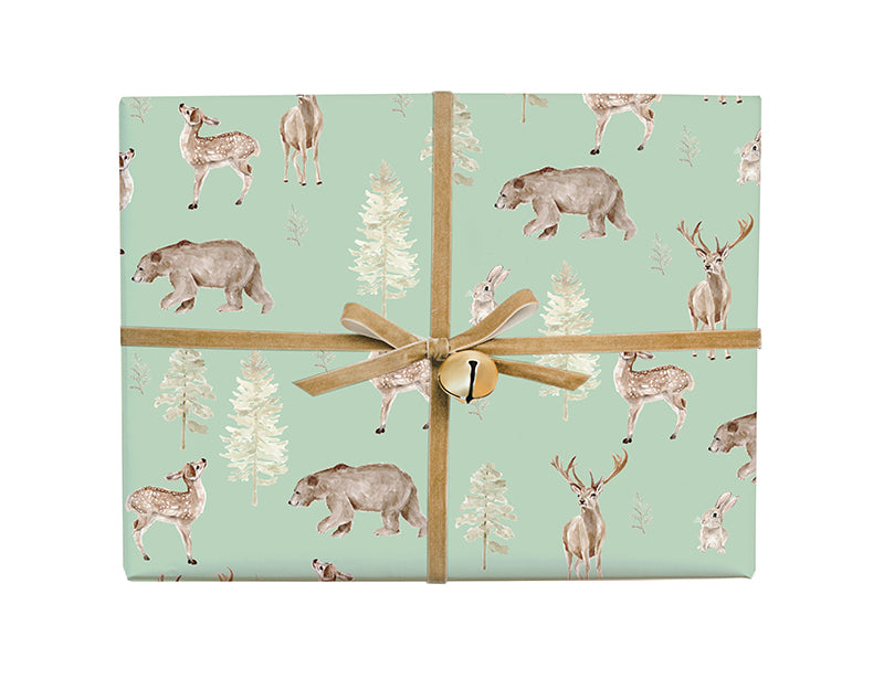 Forest and Fauna Deer and Bear Gift Wrap
