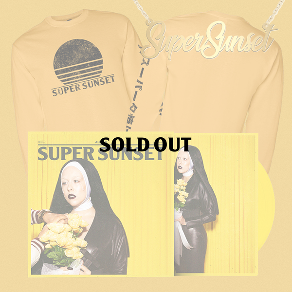 SIGNED SUPER SUNSET VINYL / T-SHIRT / NECKLACE BUNDLE
