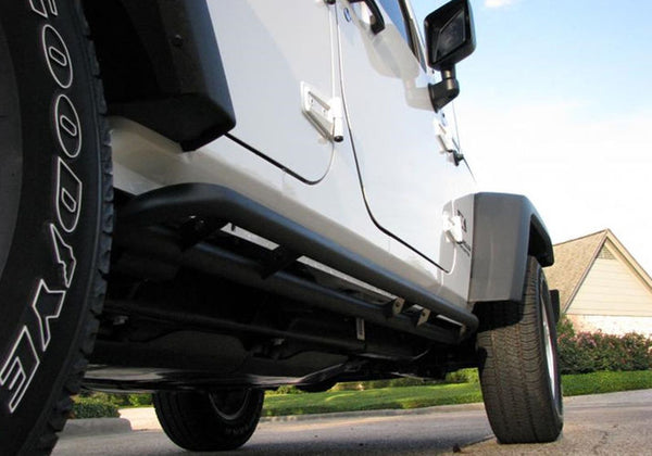 N-Fab - RKR Step System Rock Rails JK 4DR - Mounted - Garage MAD4X4