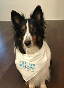 A Breath of Hope supporter, Rosie, modeling the bandana
