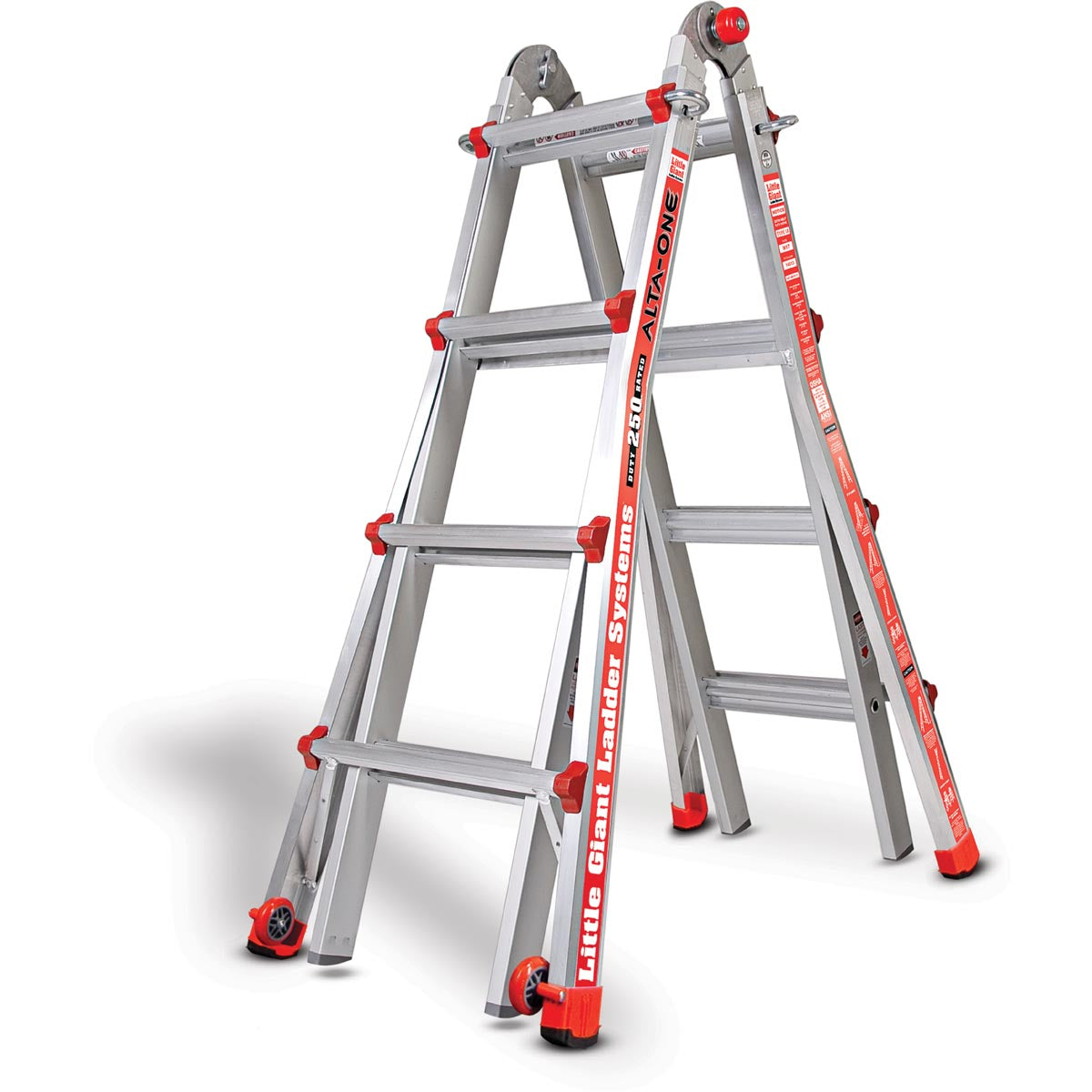 BA. Little Giant® Safety Aluminum Step Ladder - 2 StepThe Little Giant Safety Step is a unique combination of strength and simplicity. The Safety Step is constructed with super-strong, lightweight aerospace-grade aluminum; its wide, slip-resistant steps give you unmatched comfort and stability.