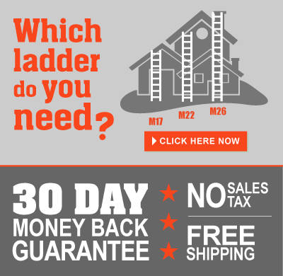 A house with ladders and the text: Which ladder do you need? 30 Day money back guarantee, no sales tax, free shipping