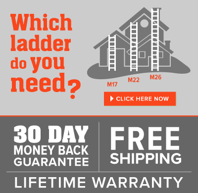 A house with ladders and the text: Which ladder do you need? 30 Day money back guarantee, free shipping