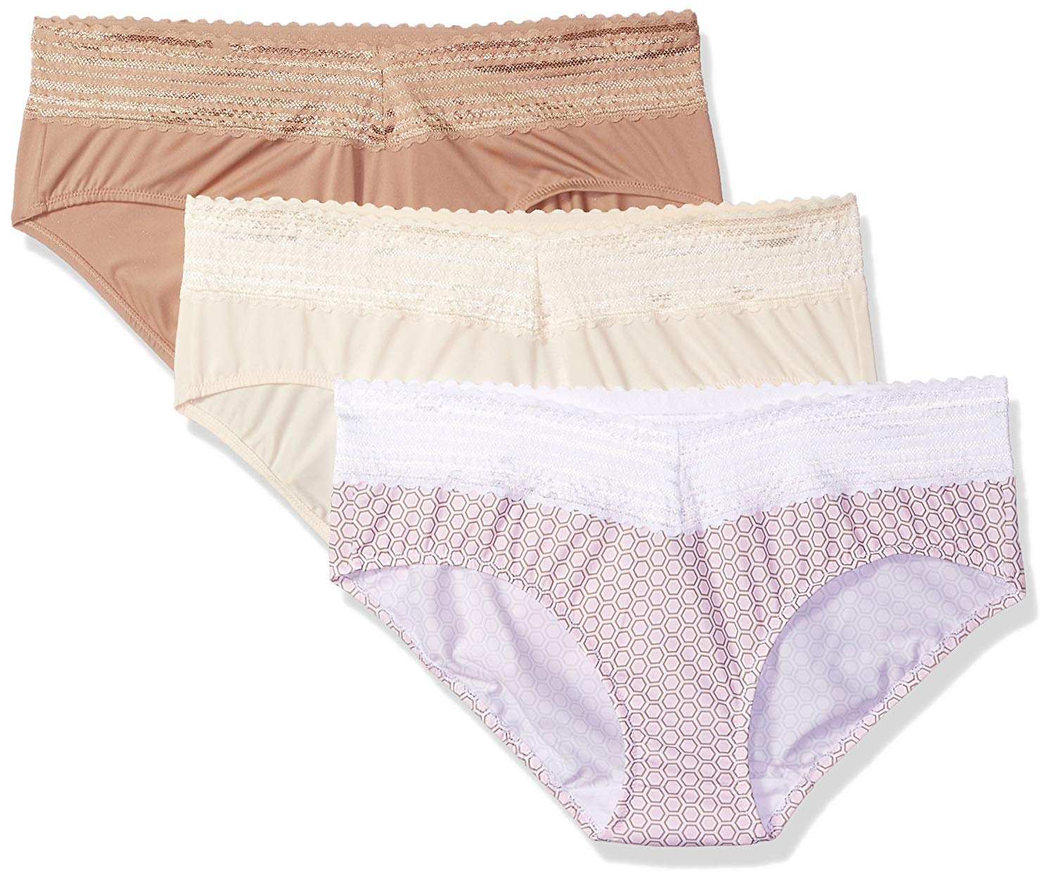 c5d6d8bd9ce7 Warner's Women's Blissful Benefits No Muffin Top 3 Pack Lace Hipster Panties