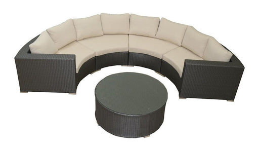 Feruci - Outdoor Round Sectional Couch w/ Coffee Table - UNQFurniture