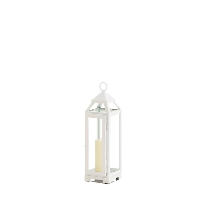 Small Country White Open Top Lantern - UNQFurniture