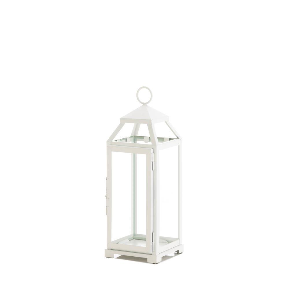 Medium Country White Open Top Lantern - UNQFurniture