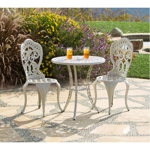 Fiesta Outdoor Aluminum Ecru 3 Piece Bistro Set