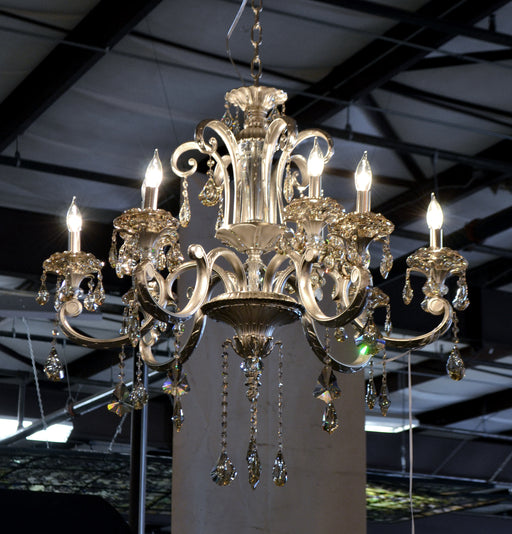 Hollywood Brush 9 light Silver Chandelier