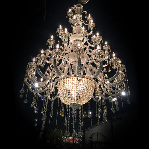 Hollywood Brush 39 light Silver Chandelier