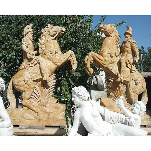 Pair of Marble Soldiers on Horseback