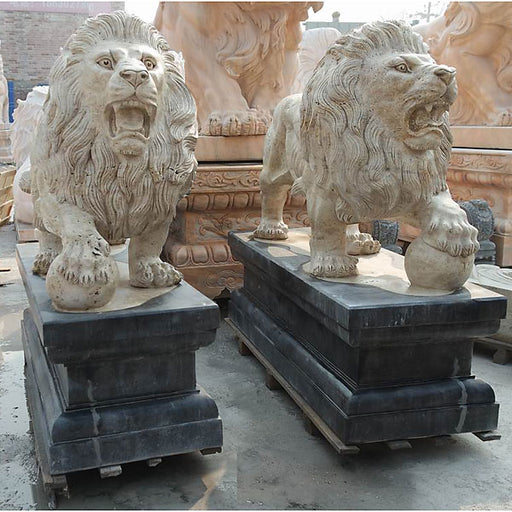 Pair Standing Lion on Base Multi Color Marble1