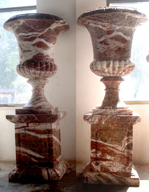 Pair Urn on Pedestal  Multi Color Marble