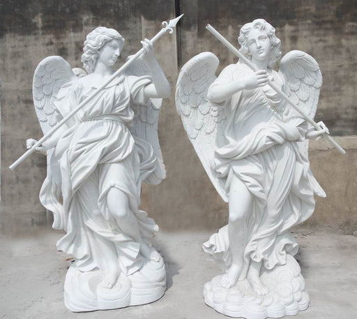 Guardian Angels Set White Marble