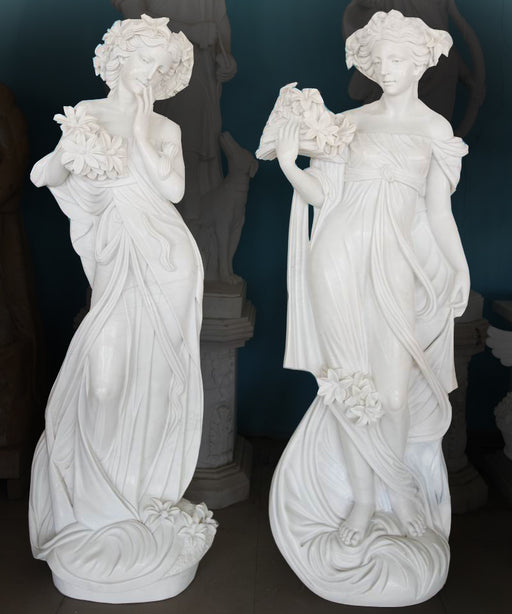 Pair Woman White Marble
