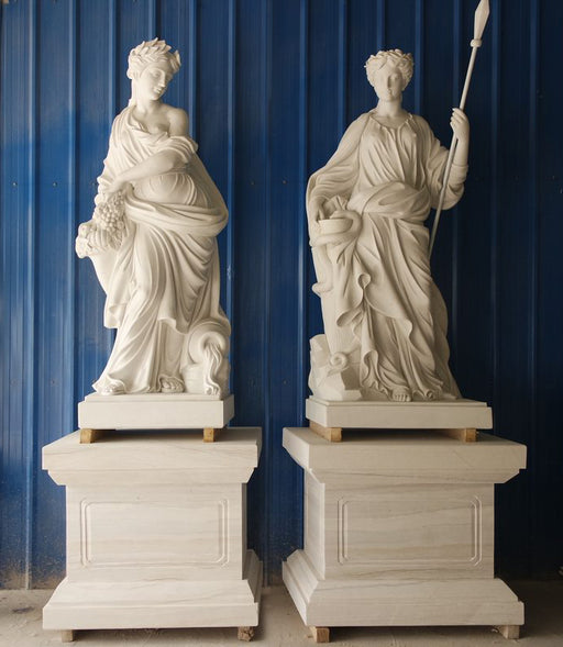 Pair Goddesses on Base  White Marble