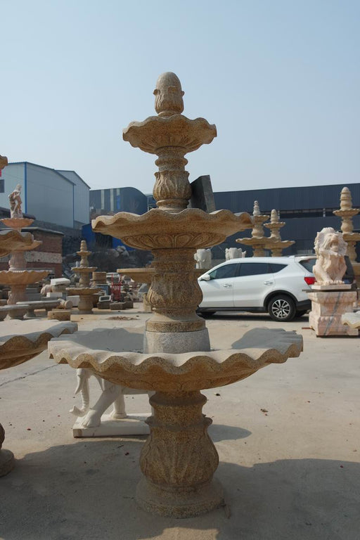Three Tier Rust Marble Fountain