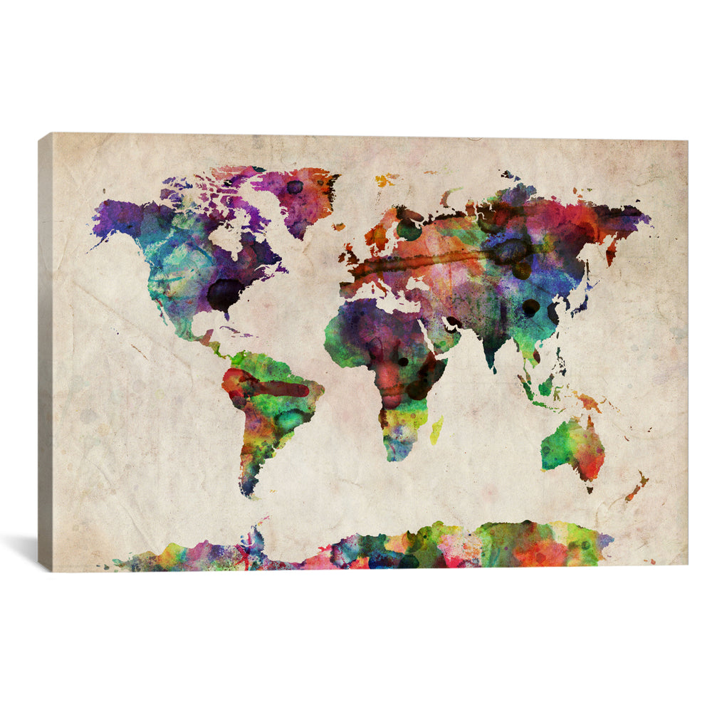 World Map Urba Watercolor II by Michael Tompsett Canvas Print - UNQFurniture