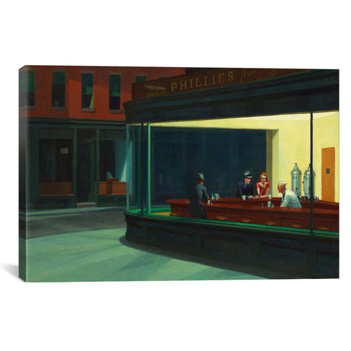 Nighthawks, 1942 by Edward Hopper Canvas Print - UNQFurniture