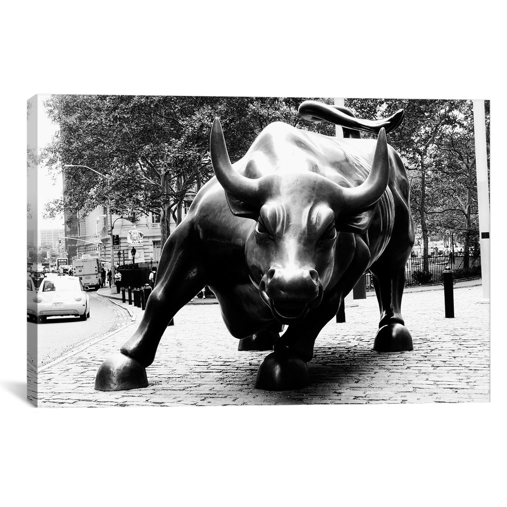 Wall Street Bull Black & White by Unknown Artist Canvas Print - UNQFurniture