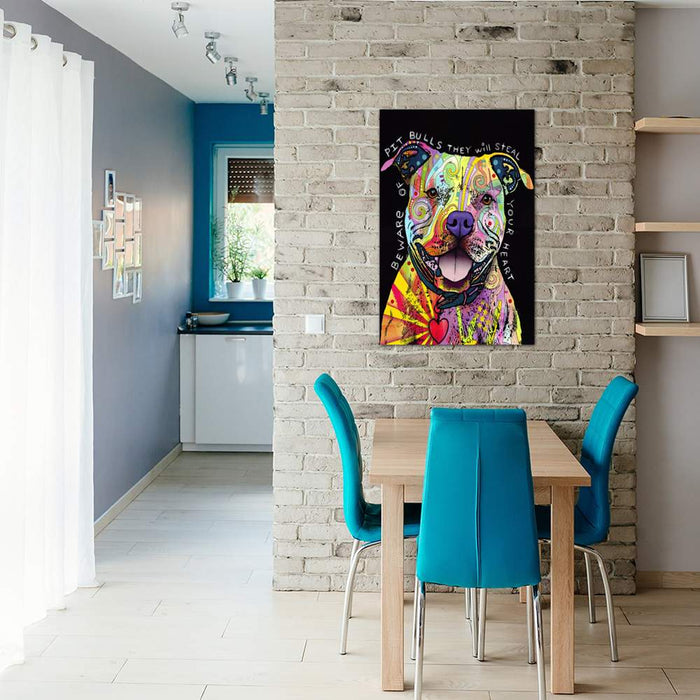 Beware of Pit Bulls by Dean Russo Canvas Print - UNQFurniture
