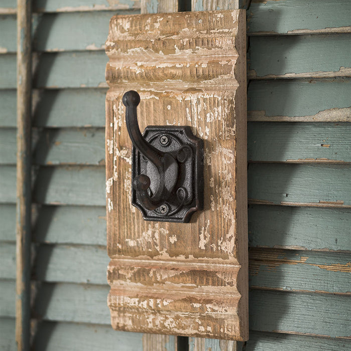 Cast Iron and Wood Wall Hook