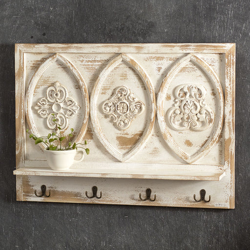 Carved Wood Shelf with Hooks