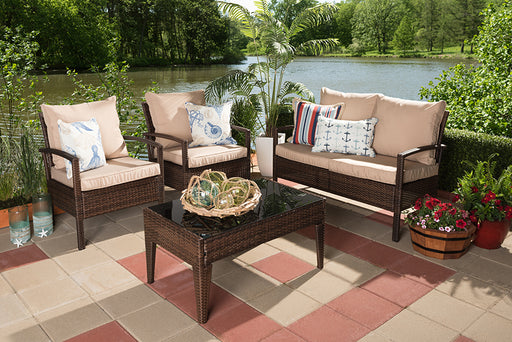 Baxton Studio Empire Modern and Contemporary 4-Piece Brown Wicker Outdoor Patio Set