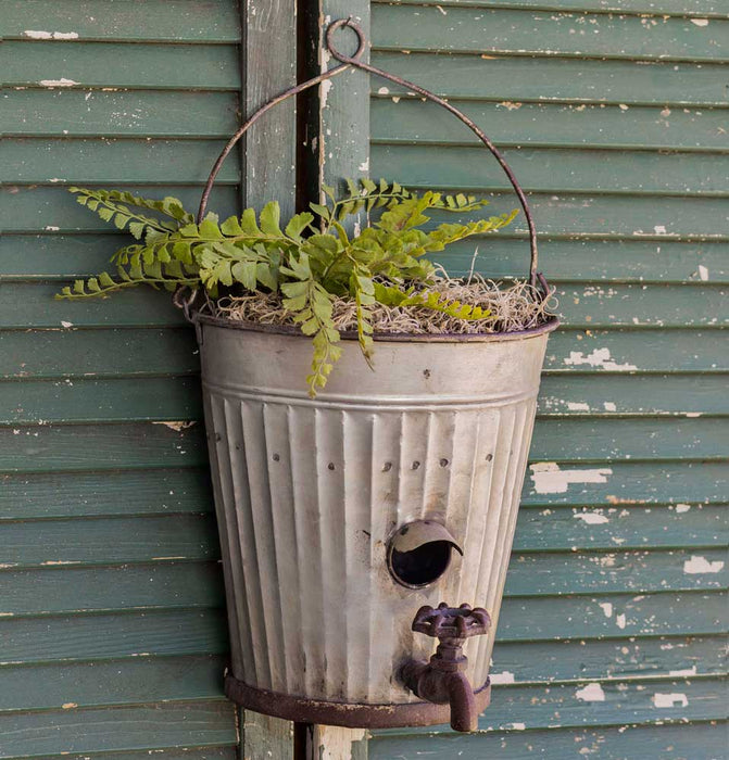 Water Bucket Birdhouse Planter