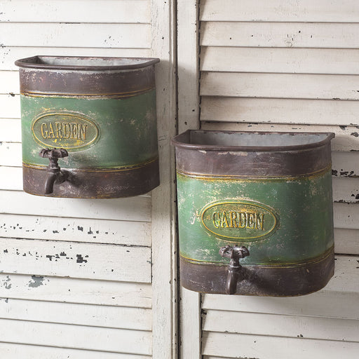 Set of Two Garden Faucet Wall Bins