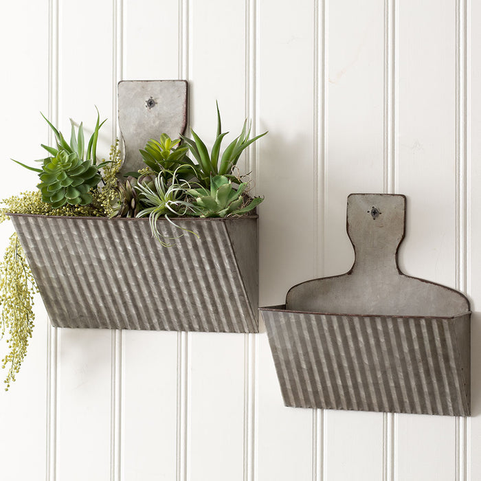 Set of Two Dust Pan Wall Pockets