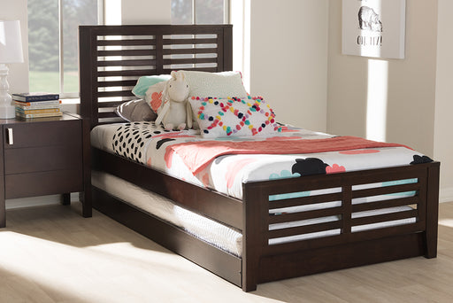Baxton Studio Sedona Modern Classic Mission Style Dark Brown-Finished Wood Twin Platform Bed with Trundle