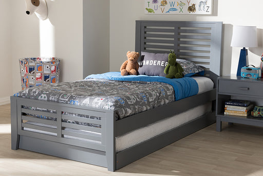 Baxton Studio Sedona Modern Classic Mission Style Grey-Finished Wood Twin Platform Bed with Trundle