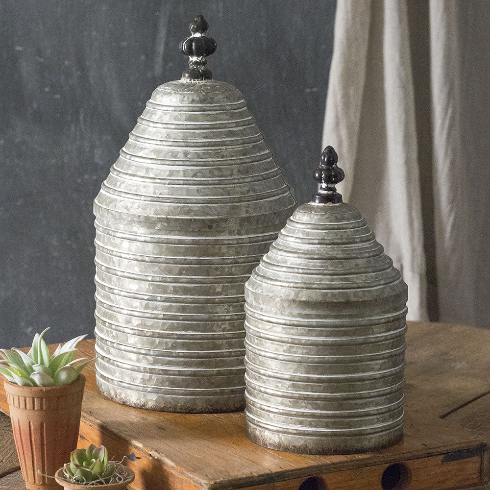 Set of Two Ribbed Canisters with Lids
