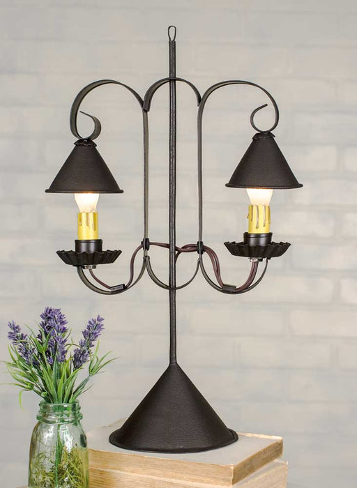 Double Lamp with Hanging Shades - Rustic Brown - UNQFurniture