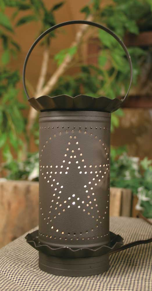 Large Punched Star Electric Wax Potpourri Warmer - Rustic Brown - UNQFurniture
