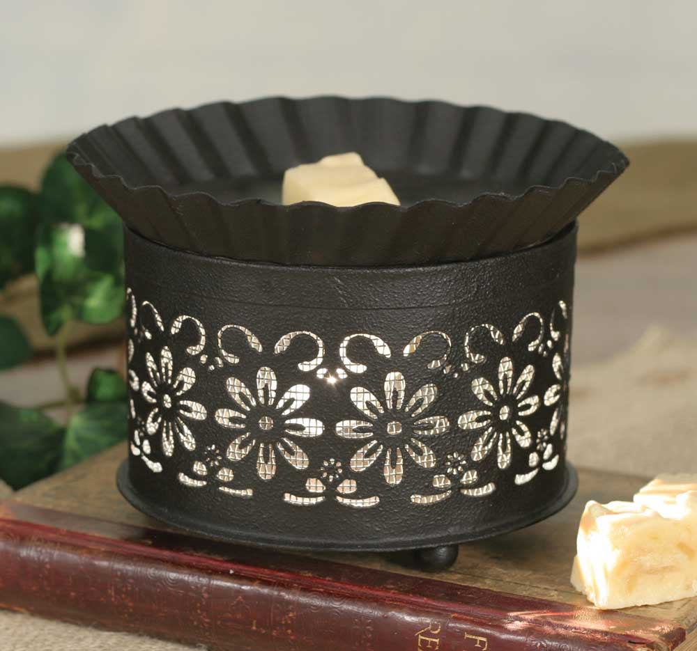 Short Round Wax Warmer - Daisy with Screen Insert - UNQFurniture