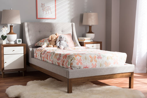 Baxton Studio Louvain Modern and Contemporary Greyish Beige Fabric Upholstered Walnut-Finished Twin Sized Platform Bed