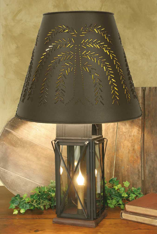 Large Milk House 4-Way Lamp with Willow Shade - Rustic Brown - UNQFurniture