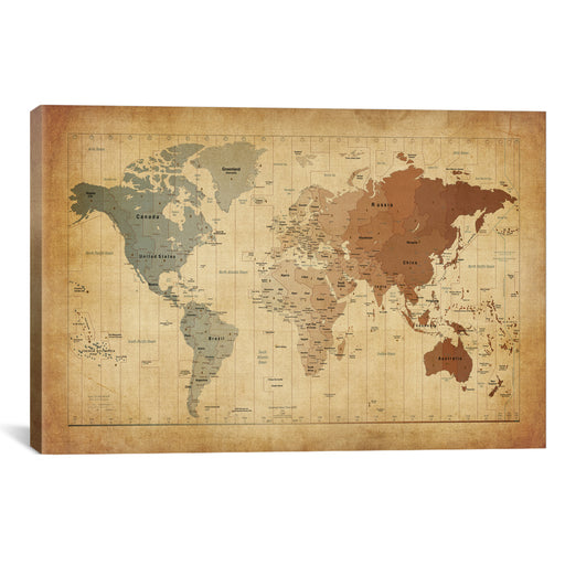 Map of The World III by Michael Tompsett Canvas Print - UNQFurniture