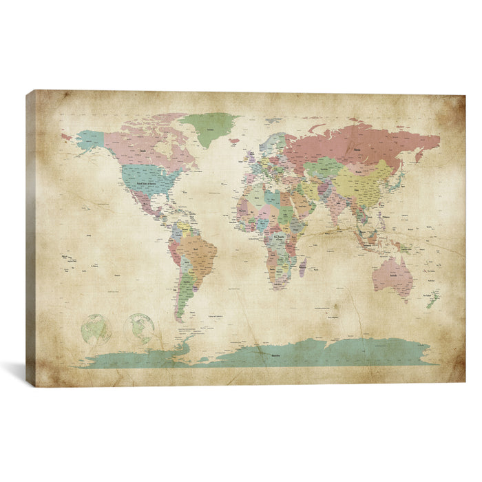 World Cities Map by Michael Tompsett Canvas Print - UNQFurniture