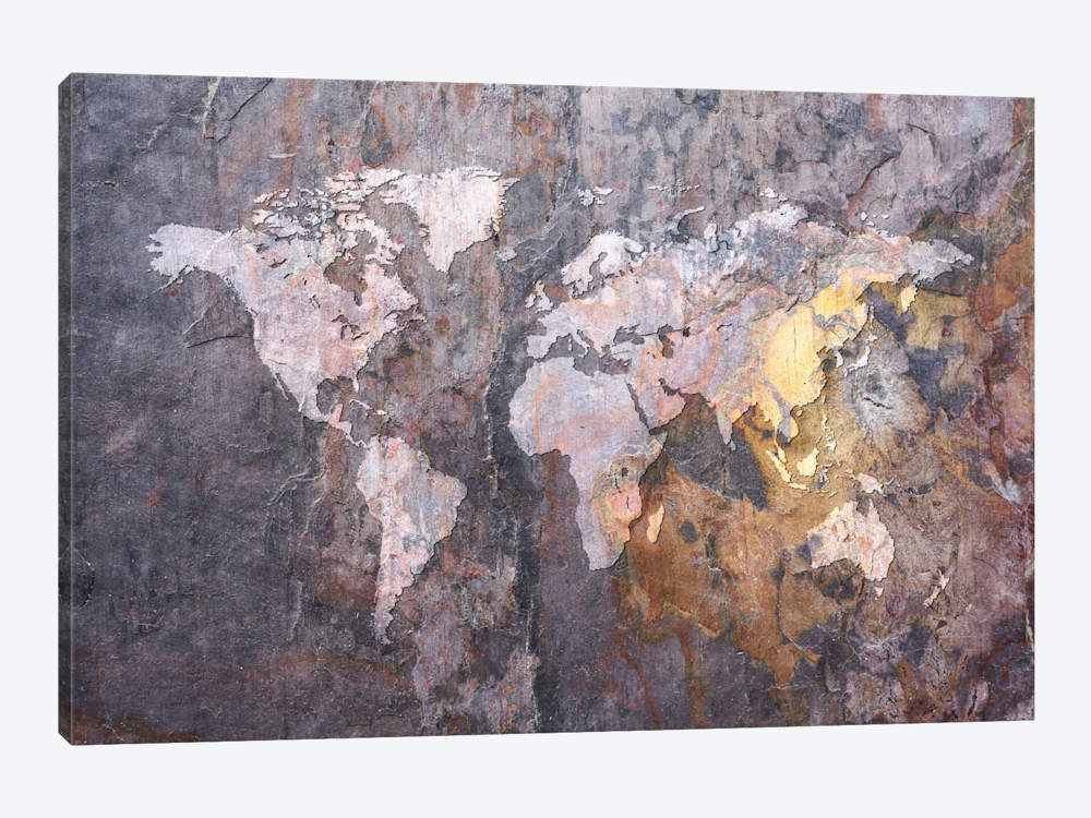 World Map on Stone Background by Michael Tompsett Canvas Print - UNQFurniture